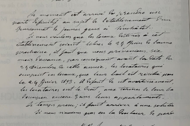 Auszug aus einem an den Generalobern der Frères andressierten Brief von Curé Berset 1892