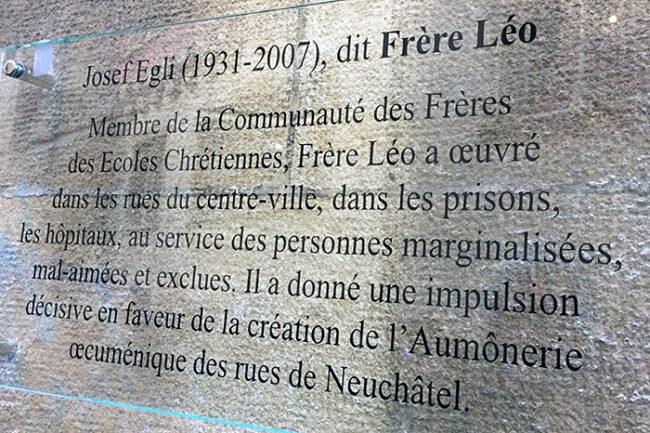 Gedenktafel Frère Léo Egli an der Rue Fleury